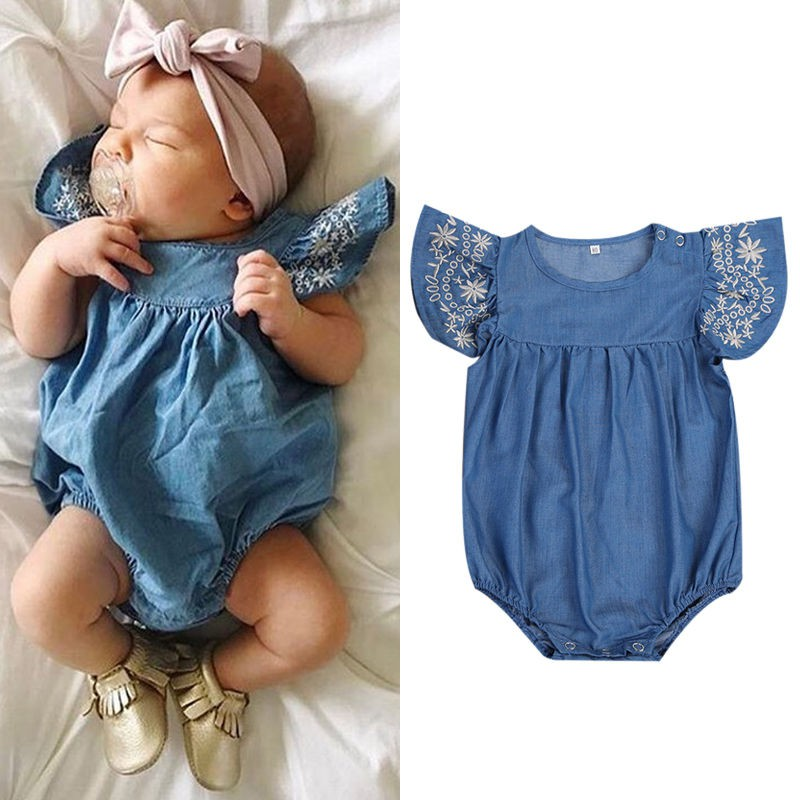 e63749a1cf707 Toddler Sunsuit Kids Baby Denim Rompers Jumpsuit Girls Infant Clothes Outfit