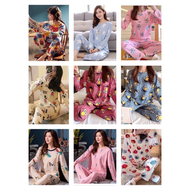 [DEG] [READY STOCK] WOMEN LONG SLEEVE & LONG TROUSER SLEEPWEAR PYJAMAS WITH PRINTED DESIGN - FREE SIZE(M-L SIZE)