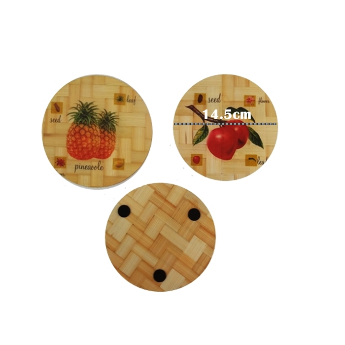 MALAYSIA: PELAPIK TAHAN PANAS / Natural Bamboo Heat Pad | Kitchen Decor | Grapes | Round