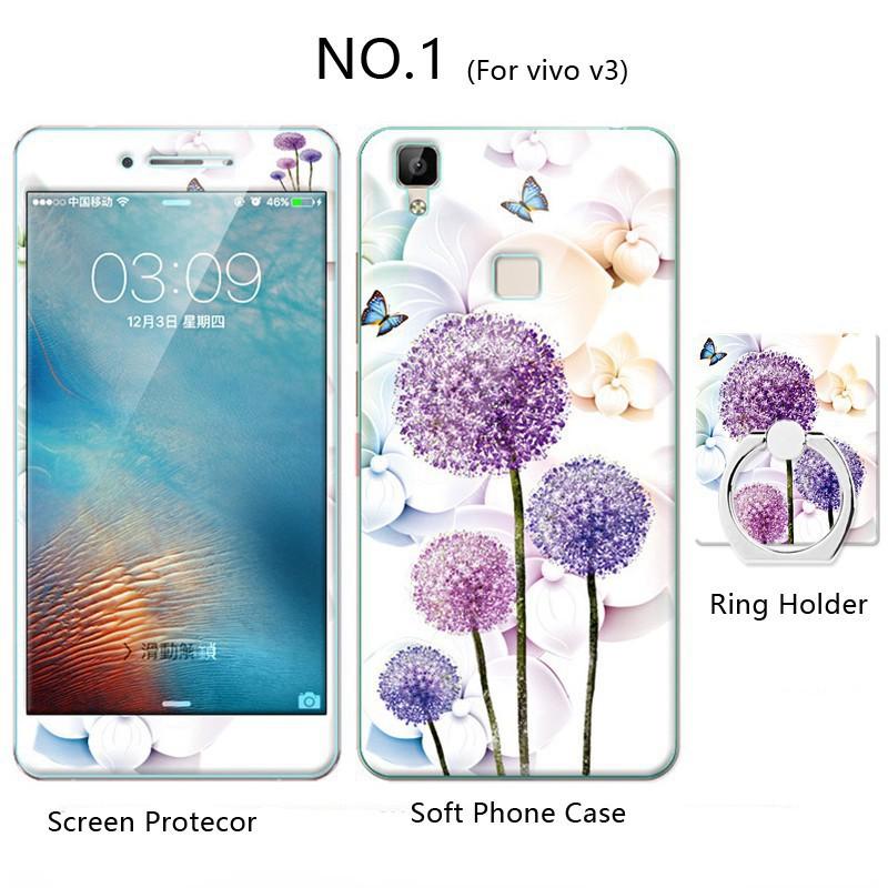 (AnnieAnn)VIVO เคส vivo v3 v3max TPU Soft Phone  เคส +Tempered Glass+Ring Stand H