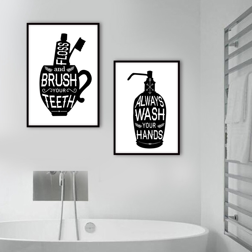 Toothbrush Toilet Quotes Funny Bathroom Canvas Painting Nordic Posters And Prints Wall Pictures For Living Room Decor Shopee Malaysia