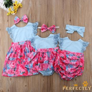 UK Toddlers Baby Girls Sister Matching Ruffle Lace Romper Jumpsuit Dress Clothes