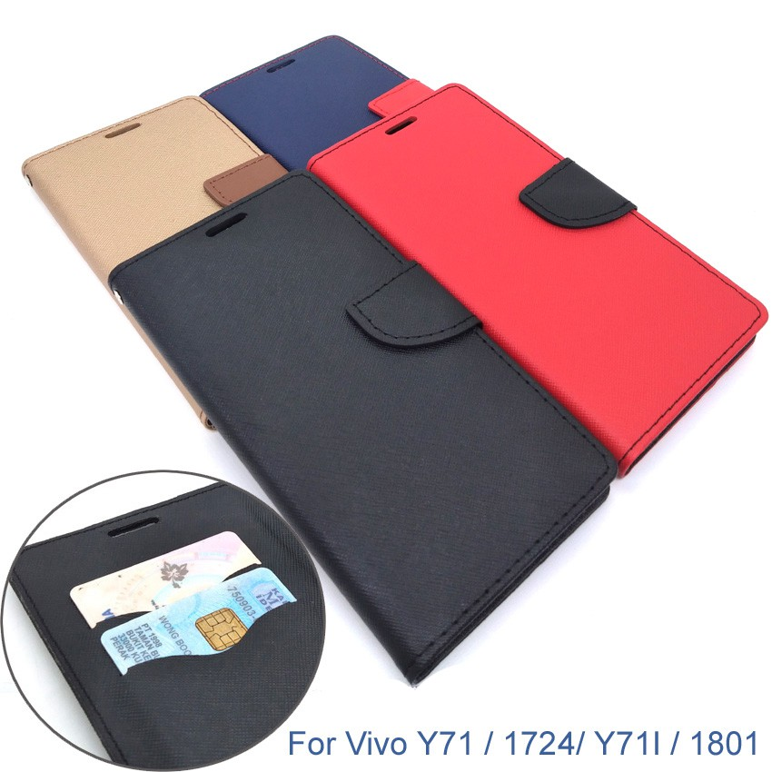 finest selection b6dcd c96f2 Vivo Y71 / 1724/ Y71i / 1801 Wallet Leather Flip Cover Case