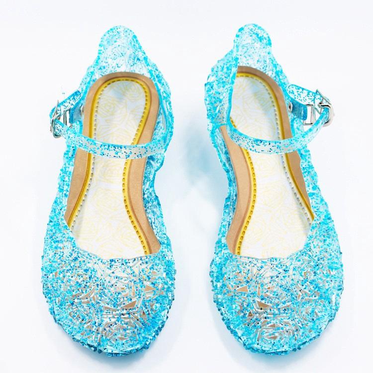 3f89217a29 Girls Frozen Crystal Plastic Shoes Kids Children Cinderella Princess Summer  Blue