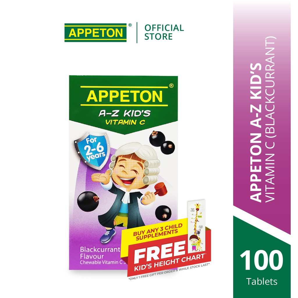 APPETON A-Z KID'S Vitamin C 30mg Chewable Tablet for 2-6 Years Old Blackcurrant for Children Immunity (100's)