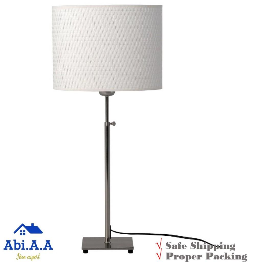 Ikea AlÄng Alang Table Lamp Nickel Plated White Lampu Meja
