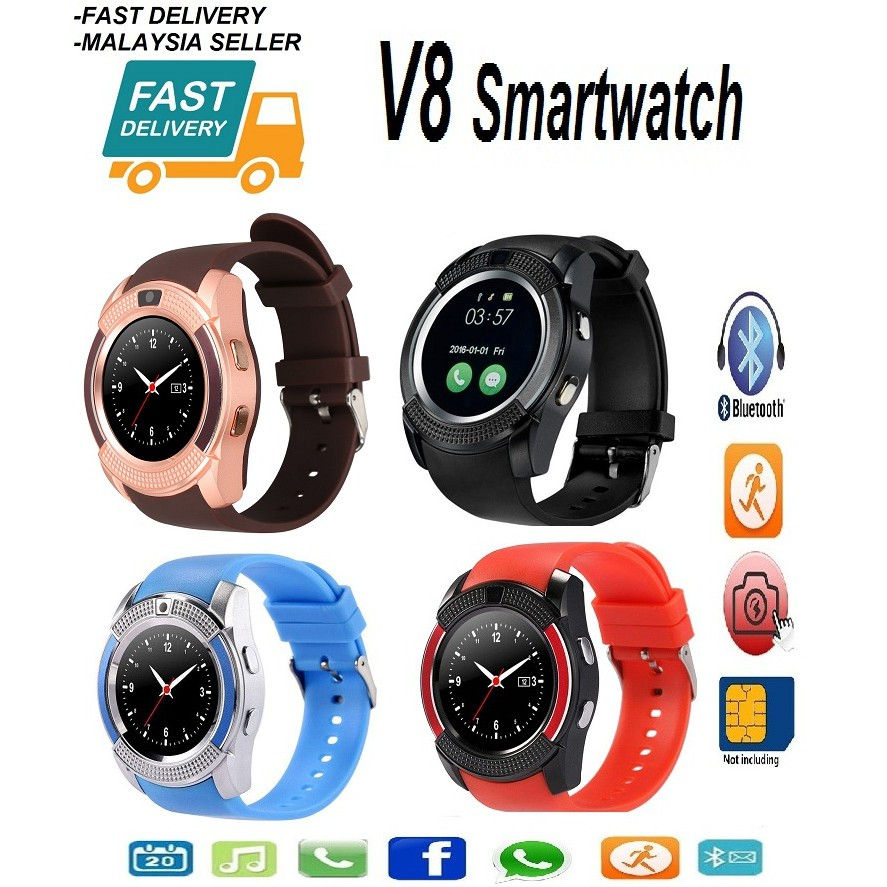 V8 Smartwatch (Life waterproof) Support Sim Card/Bluetooth/MMC (Fast  Delivery)