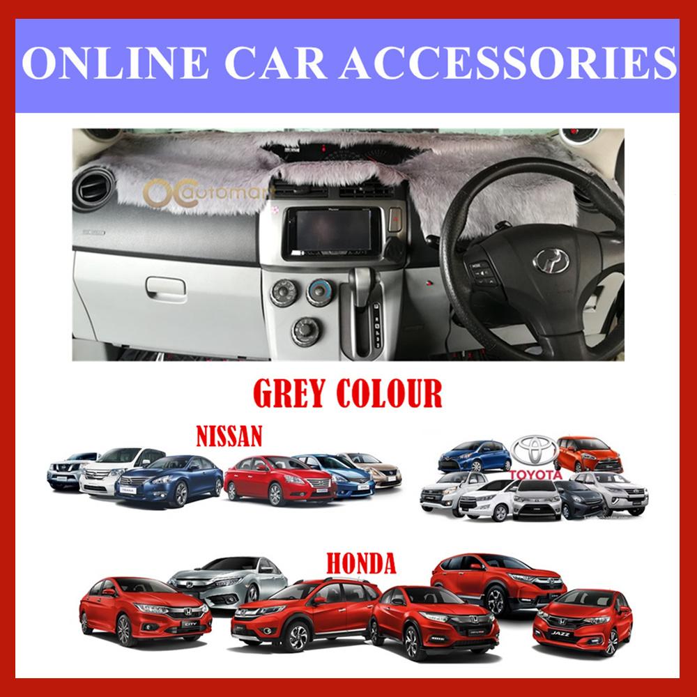 Customized Dashboard Cover Fur / Bulu For Honda Nissan Toyota Isuzu - Grey Colour