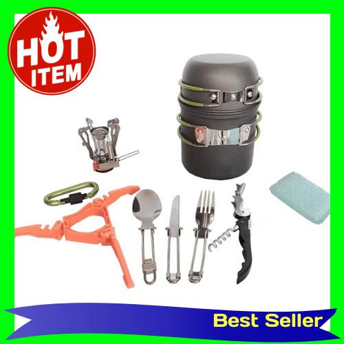Ultralight Portable Camping Outdoor Pot Pan Set Hiking Picnic Backpack Tableware Cookware Kit Cooking Bowl Pot Pan Mini