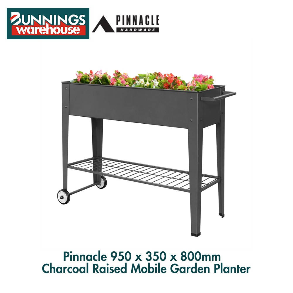 Bunnings Pinnacle #3321764 950 x 350 x 800mm Charcoal Raised Mobile Garden Planter