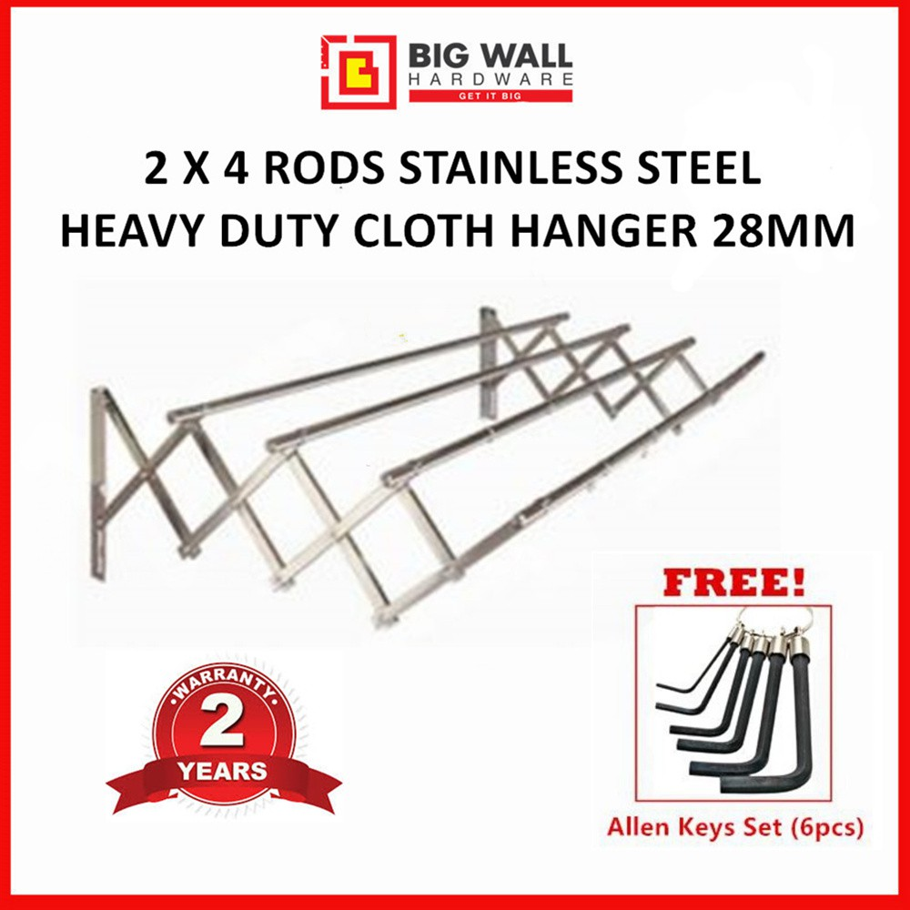OEM 2M X 4 RODS STAINLESS STEEL HEAVY DUTY CLOTHES HANGER 19MM (Penyidai Pakaian) Free Allen Keys (6pcs set)