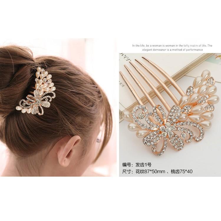Korean Crystal Diamond headpieces 韩国水晶镶钻花朵盘发插梳 Ready Stock