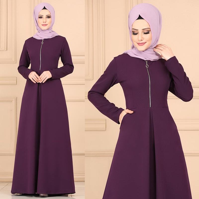 New Women New Pure Color Muslim Clothing Casual Simple Soft Baju Fashion Jubah Muslimah Maxi Dress Plus Size Dresses