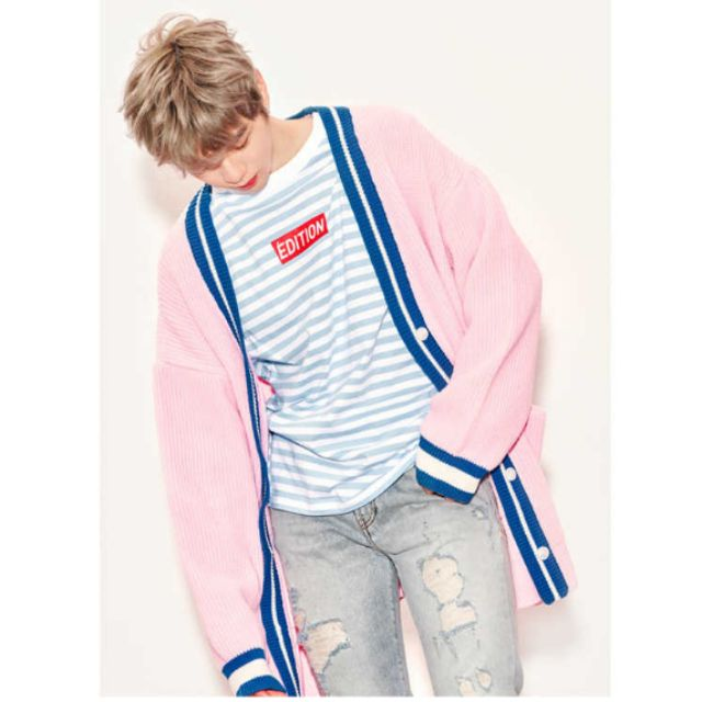 L A P KANG DANIEL PINK STRIPE LONG SLEEVES TSHIRT