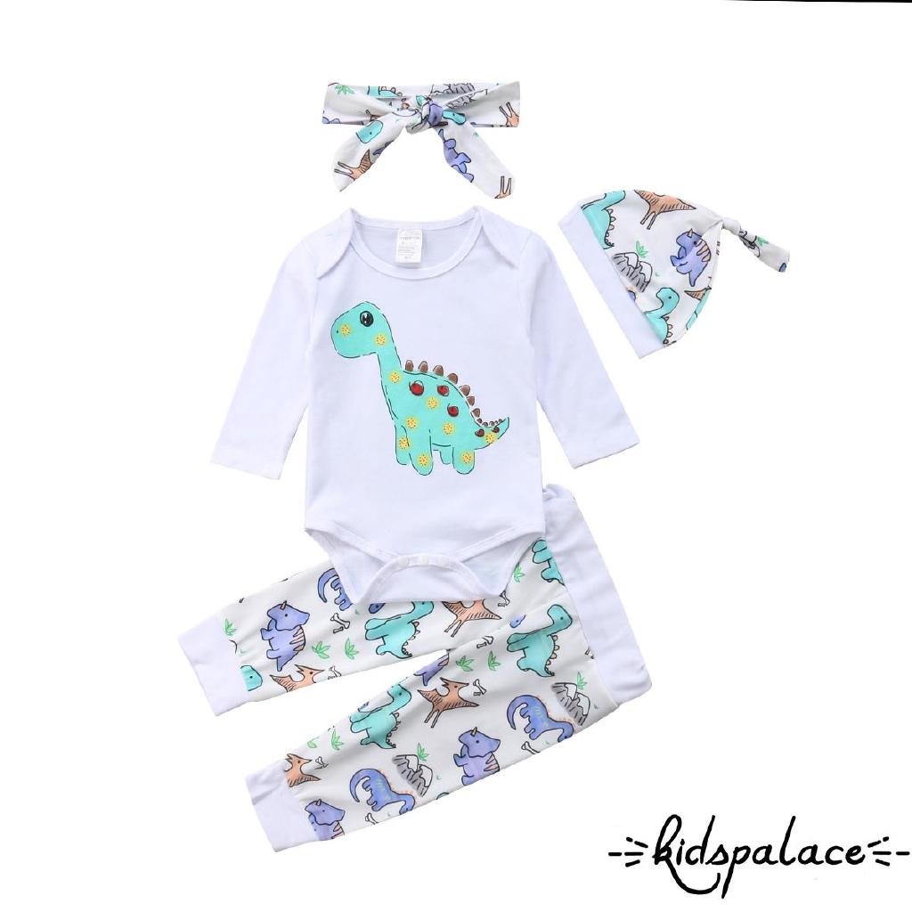 4PCS Newborn Kid Baby Boy Girl Outfit Clothes Set Romper Bodysuit+Pants Leggings