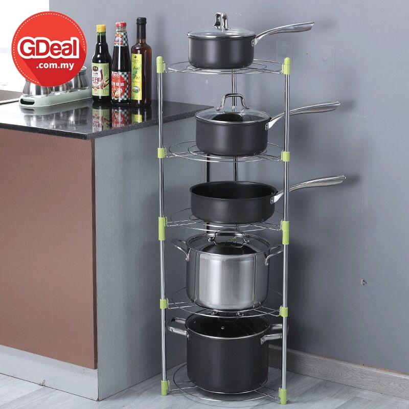 GDeal Stainless Steel Five Layer Pot Rack Kitchen Storage Organizer Rak Dapur رق داڤور