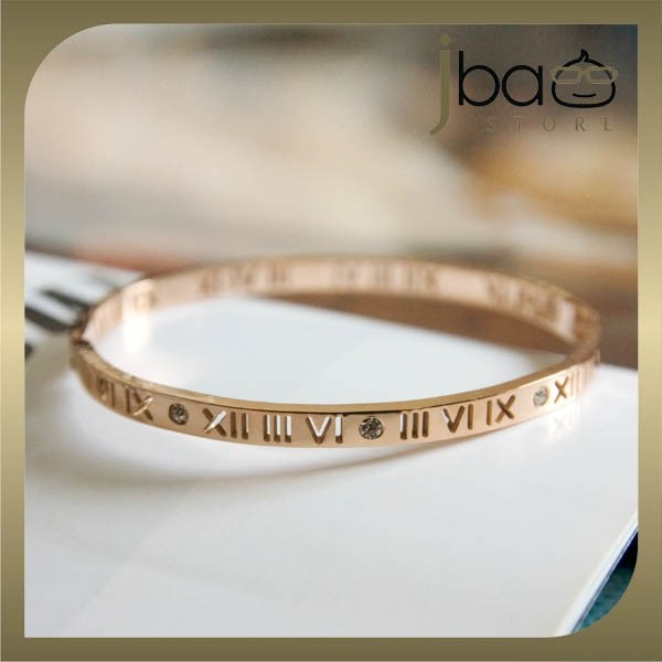 Roman Numerals Bangle 18k Rose Gold Plated Titanium Steel Crystal Bracelet