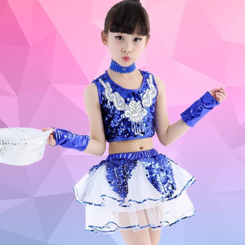 152d9c43bafb Kids Girls Sequined Jazz Modern Dance Costume Hip Hop Dance Wear ...