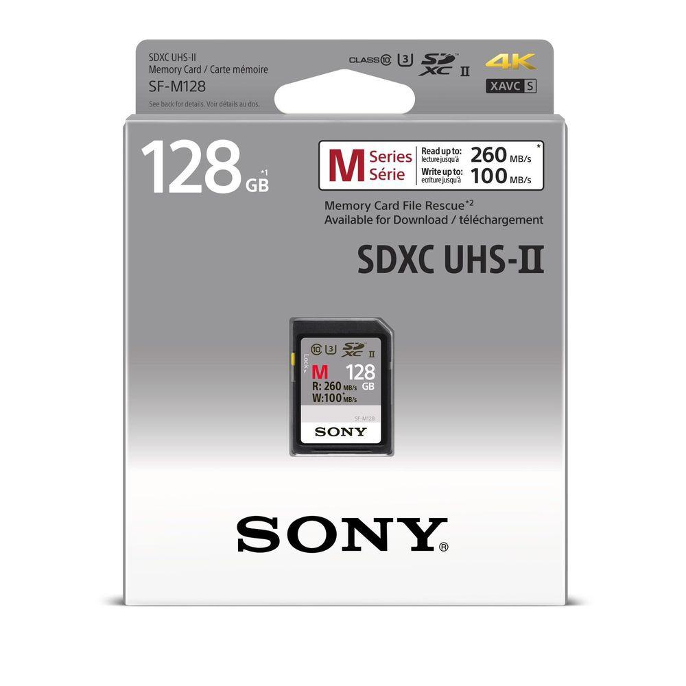Sony 128GB SDXC Class 10 U3 4K UHS-II Memory Card R 260MB/s W 100MB/s SF-M128