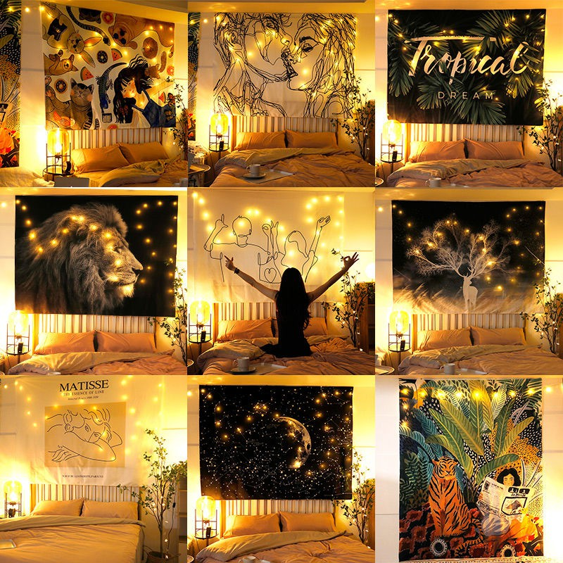 Led Lights Wall Hanging Cloth Tapestry Decoration Bedroom Background Fabric Home Decoration Lights Curtain With Led String Lights Fairy Lights Garland Shopee Malaysia