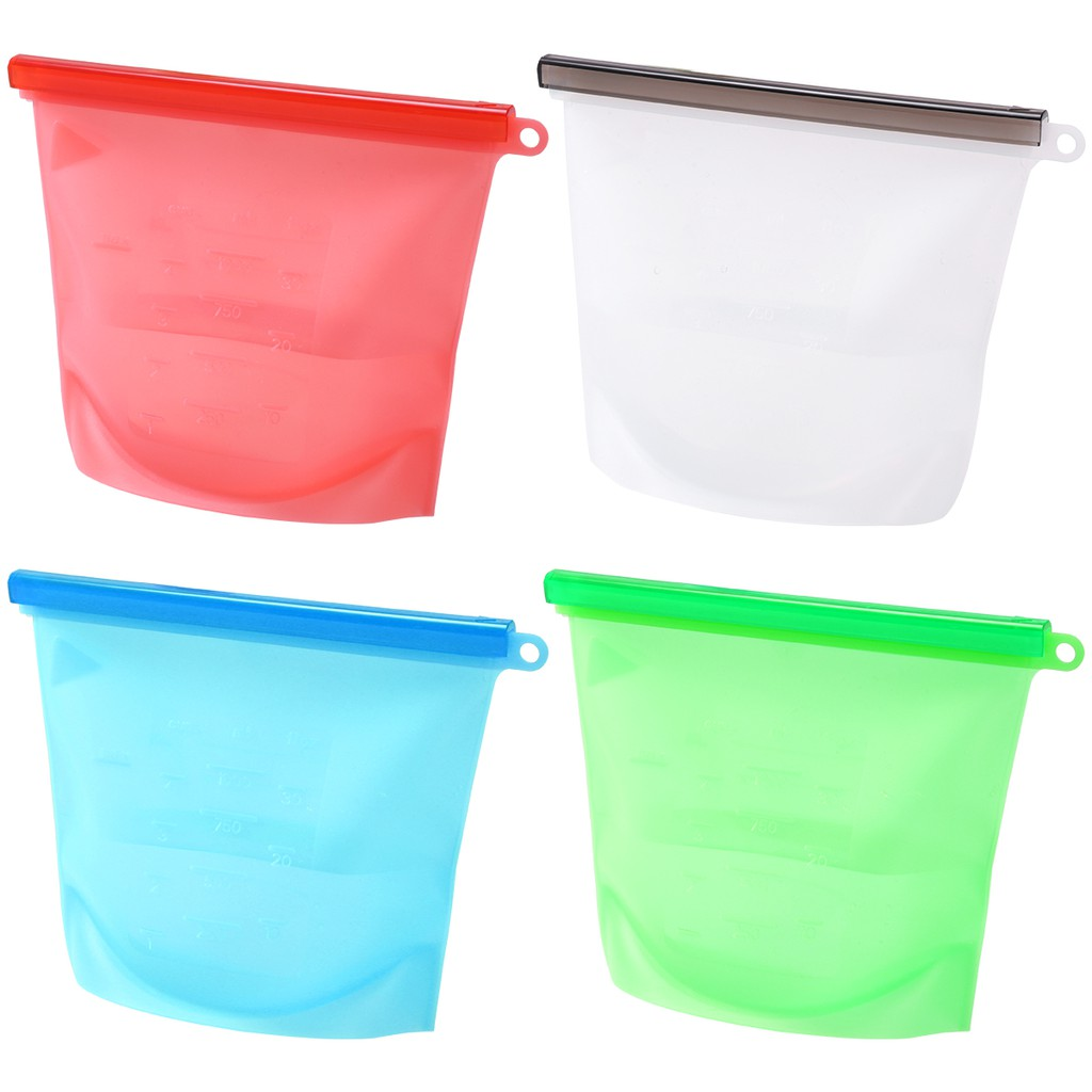 c0685d03413c BESTONZON 4pcs Non-toxic Food Preservation Bag Silicone Cooking Bag