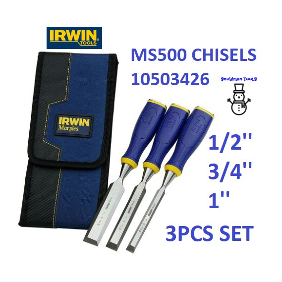 IRWIN MS500 CHISELS 3 PCS 1/2'' 3/4'' 1'' WOOD CHISEL SET WOODWORKING CUTTING MARPLES 10503426 3PCS