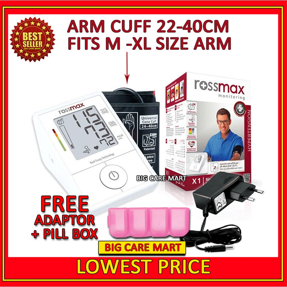 Rossmax X1 Blood Pressure Monitor Large Cuff (5 years Warranty) + Adaptor + FREE PILL BOX