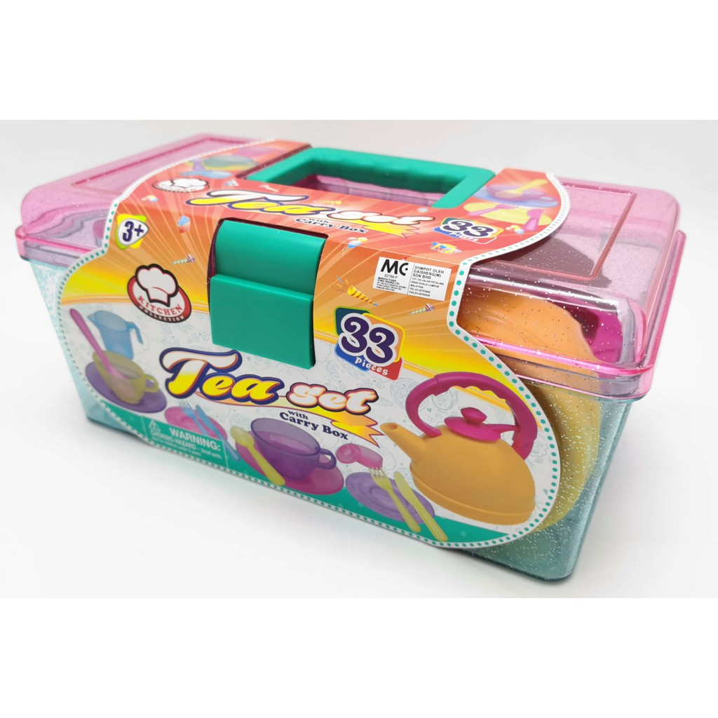 TEA PLAY SET WITH CARRY BOX FOR KIDS ( 33PIECE) (GIRL KITCHEN PLAY SET)