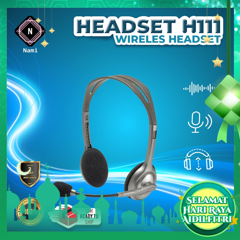 Logitech H111 Stereo Headset 3.5mm Multi-device Headset Business Headset For Voice Calls Skype Webinars