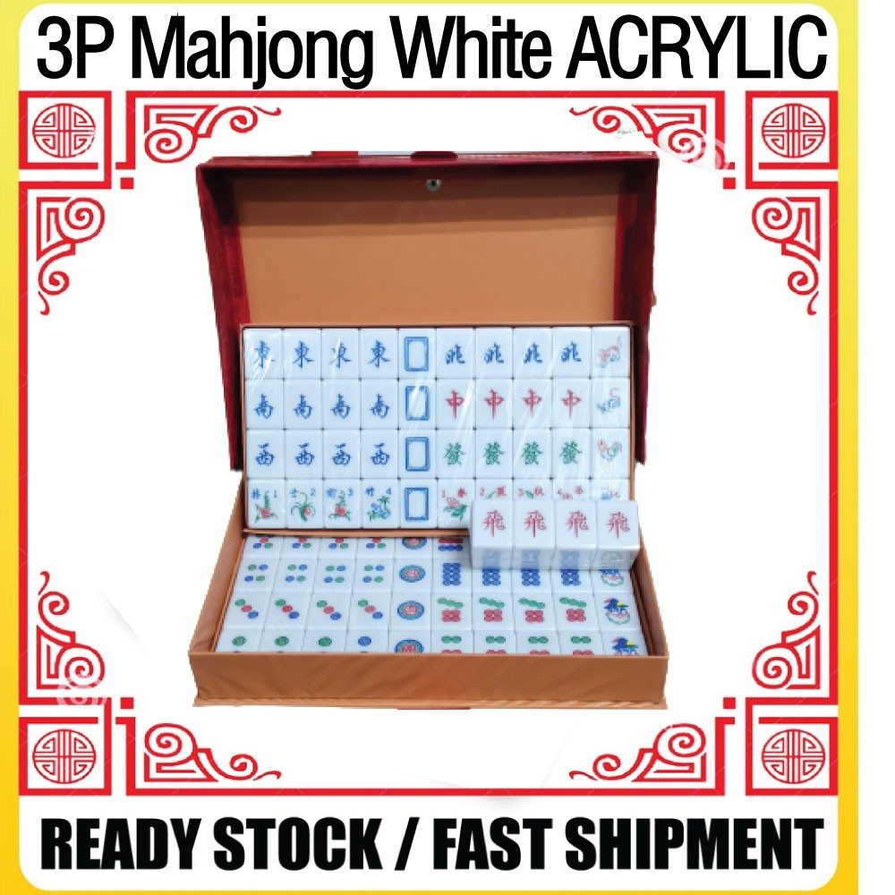 [Ready Stock]3 Player Mahjong Set/Acrylic White Special Promotion[Fast Delivery]三人麻将/亚克力