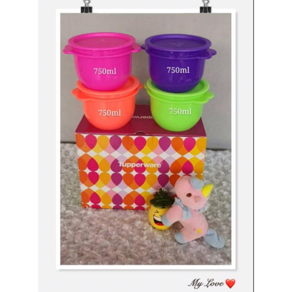 One Touch Tupperware  750ml x4 - With Gift Box