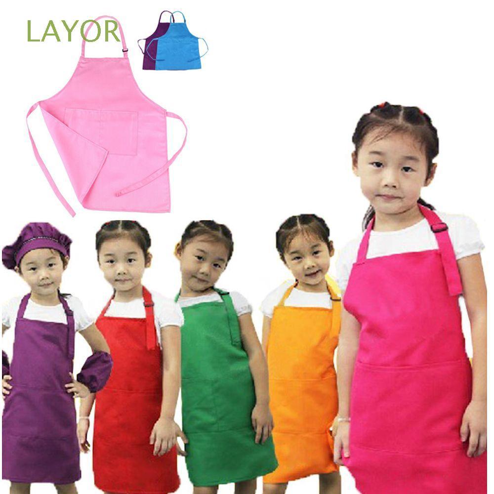 UK Baby Girls Toddler Bibs Waterproof Feeding Art Paint Apron Rainbow Pink 2Pcs