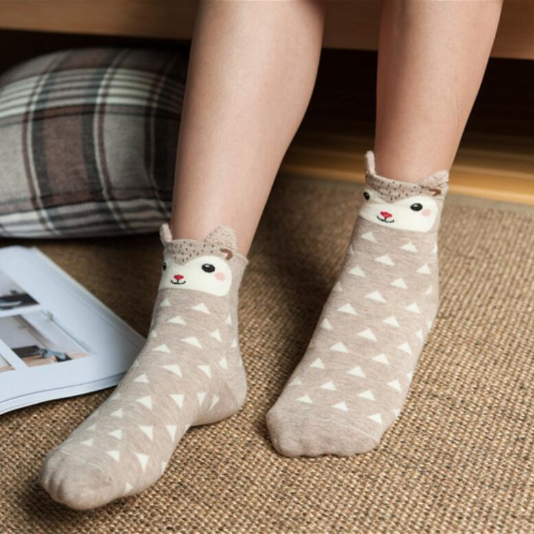Women Girls Warm Soft Creative Cartoon Cotton Socks Polka Dot Animals 3D Print