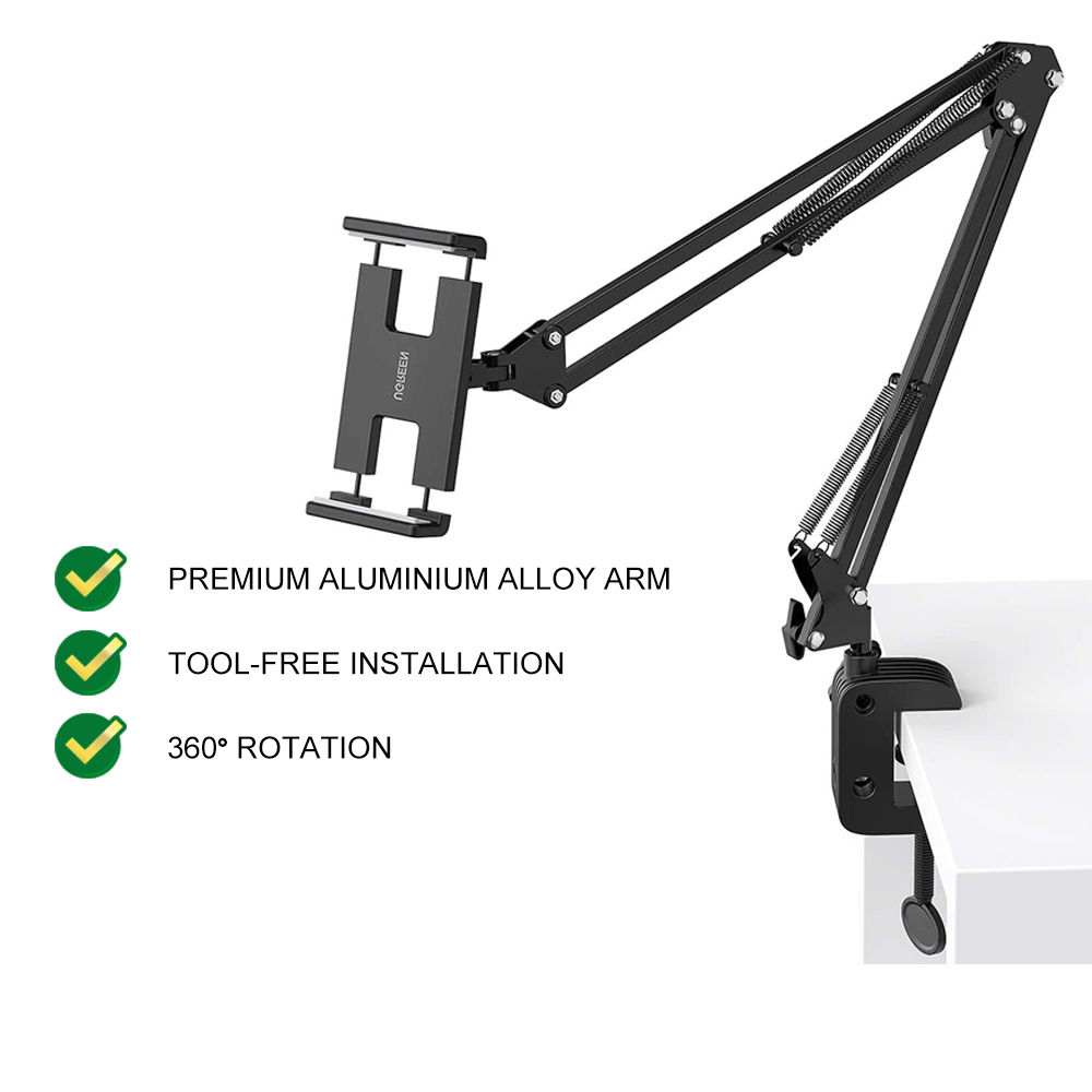 UGREEN Tablet Mount Lazy Holder Stand Adjustable Long Arm Clamp for  iPad iPhone Samsung Nintendo Switch Max 12.9 Inch