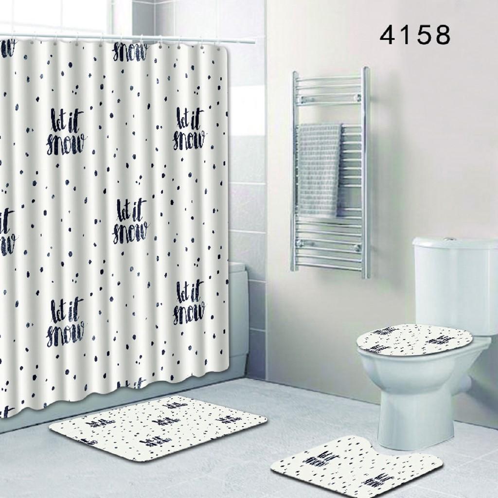 Bathroom Doormat Frog Design Waterproof Fabric Shower Curtain Liner Bath Mat Set