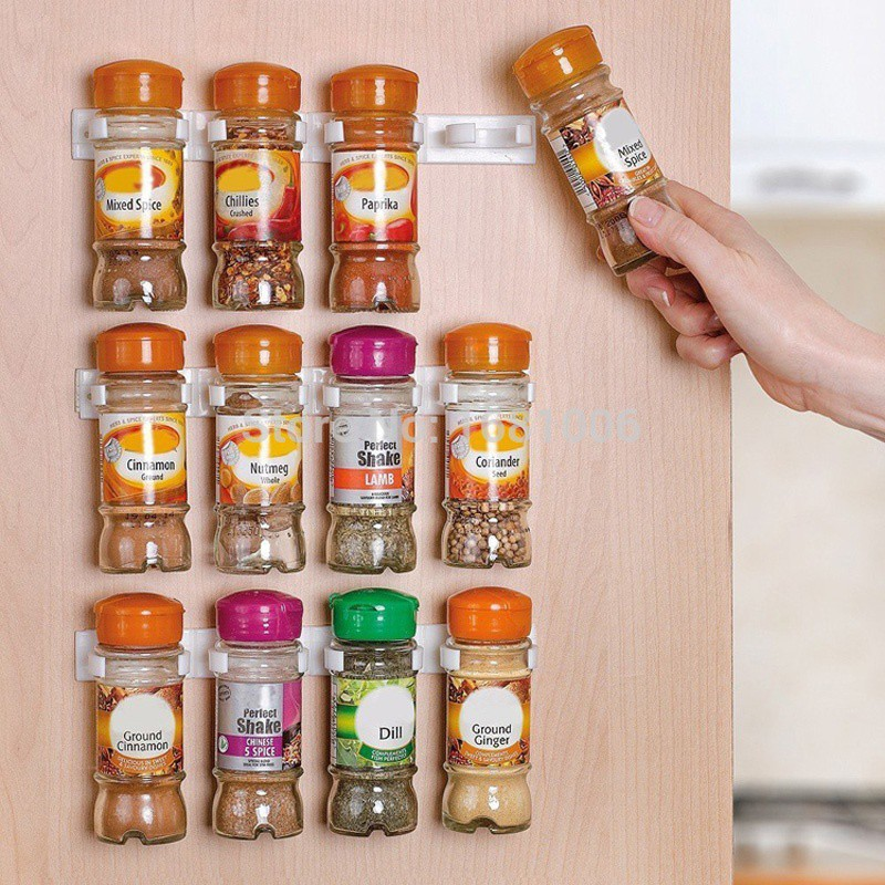 1 Psc 5 Cabinet Spice Wall Rack Storage Plastic Kitchen Organizer Door Hooks