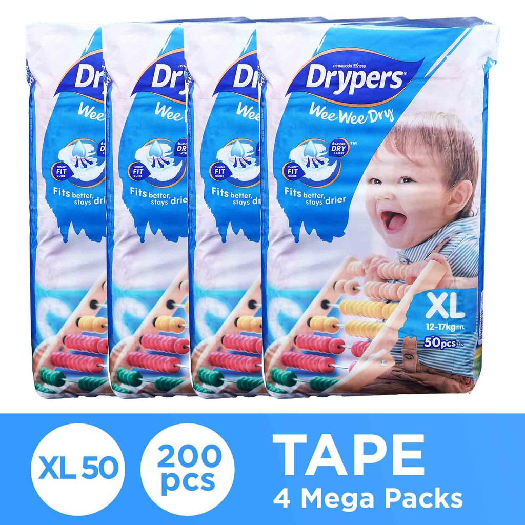 Drypers Wee Wee Dry XL100 x 2 TP (200s total)