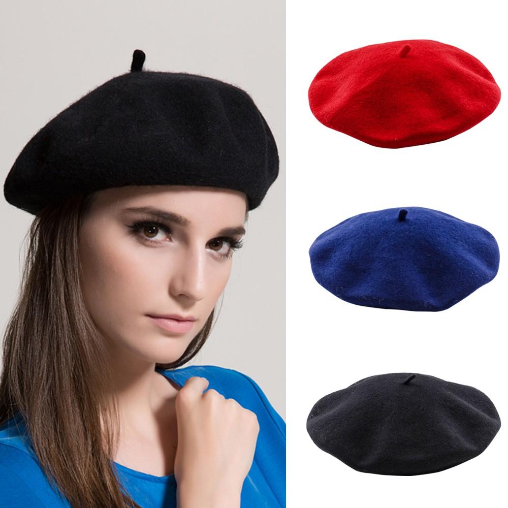 Womens Plain Beret Hat Wool Warm French Beret Winter Autumn Girls Fashion Hats