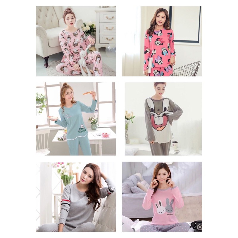 [READY STOCK] WOMEN LONG SLEEVE SHIRT & TROUSER SLEEPWEAR PYJAMAS SET WITH SIMLE DESIGN