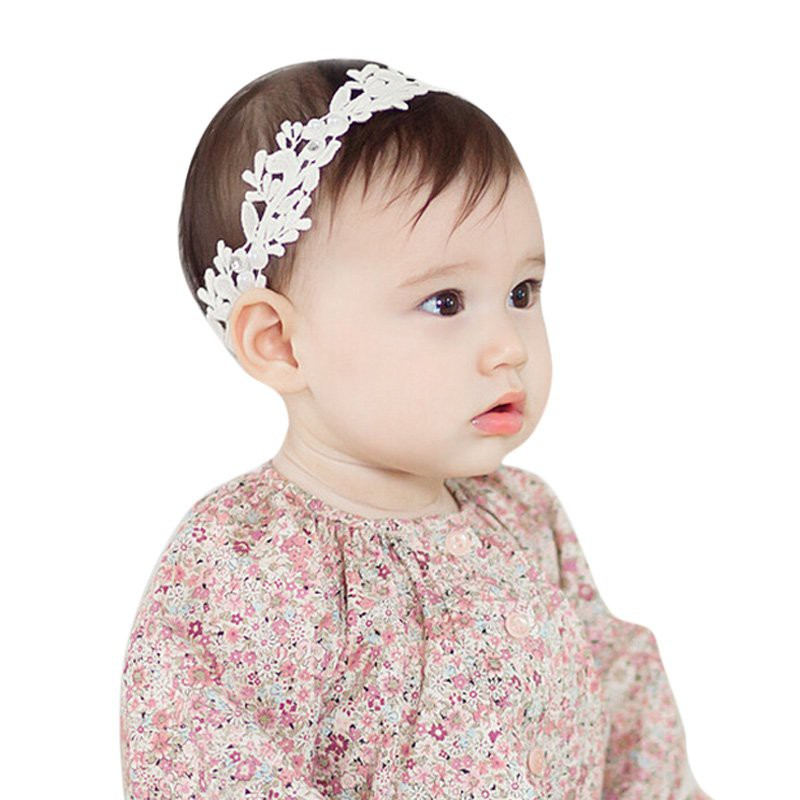ab7143cf0aa Baby Kids Headband Rhinestone Faux Pearl Lace Bow Hair Bands Photography  Props