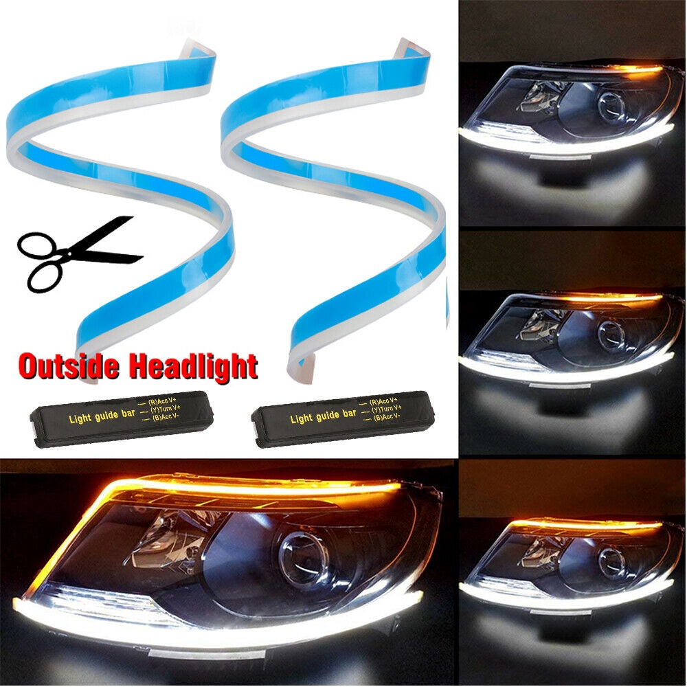 Sequential LED Strip Turn Signal Switchback 2PCS Waterproof Ultrafine Dual-color 30cm 45cm 60cm Flexible Soft LED Strip Light Daytime Running Lights Suitable for Universal Car Styling
