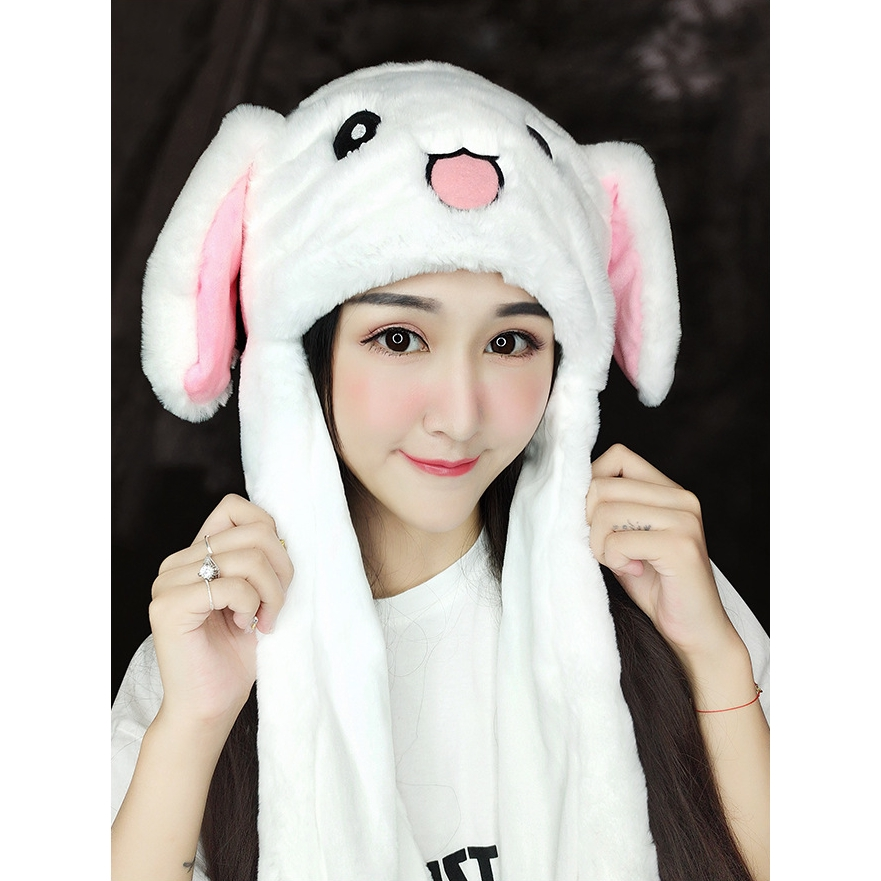 Girl's Hats Apparel Accessories 2019 Hot Sell Fashion Moving Hat Rabbit Ears Plush Sweet Cute Airbag Cap 2 Color Can Be Choose Fashionable And Attractive Packages