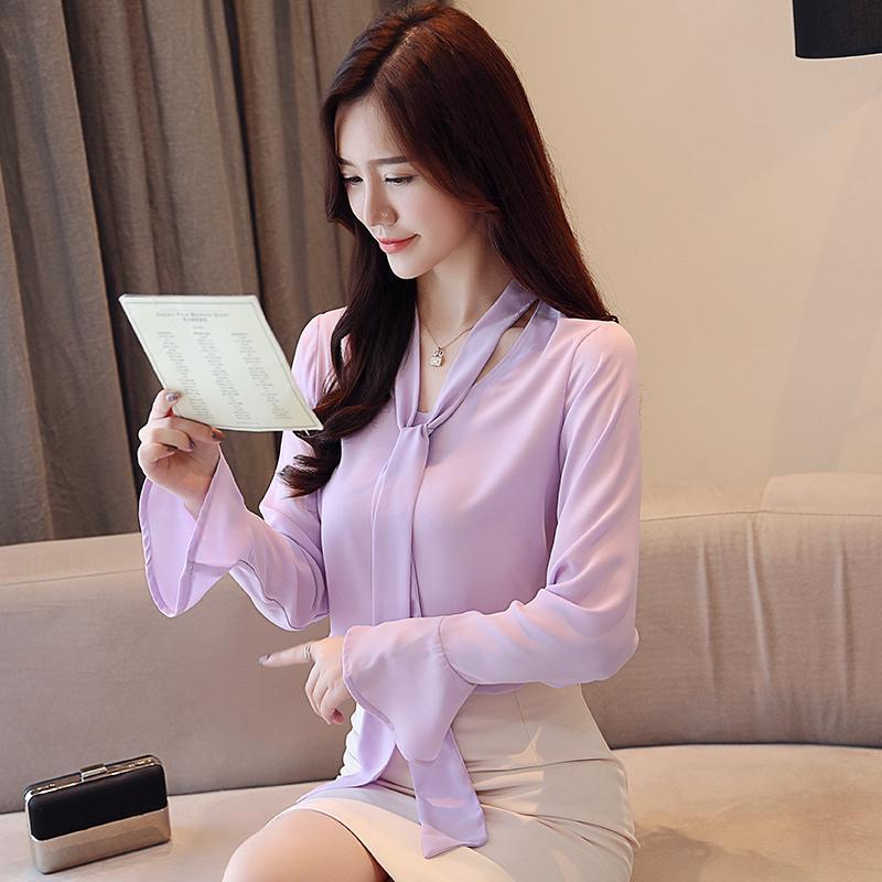 62f4f108162518 Crazy Sale 2019 Spring Long Sleeve Chiffon Shirt Pearl Buckle ...