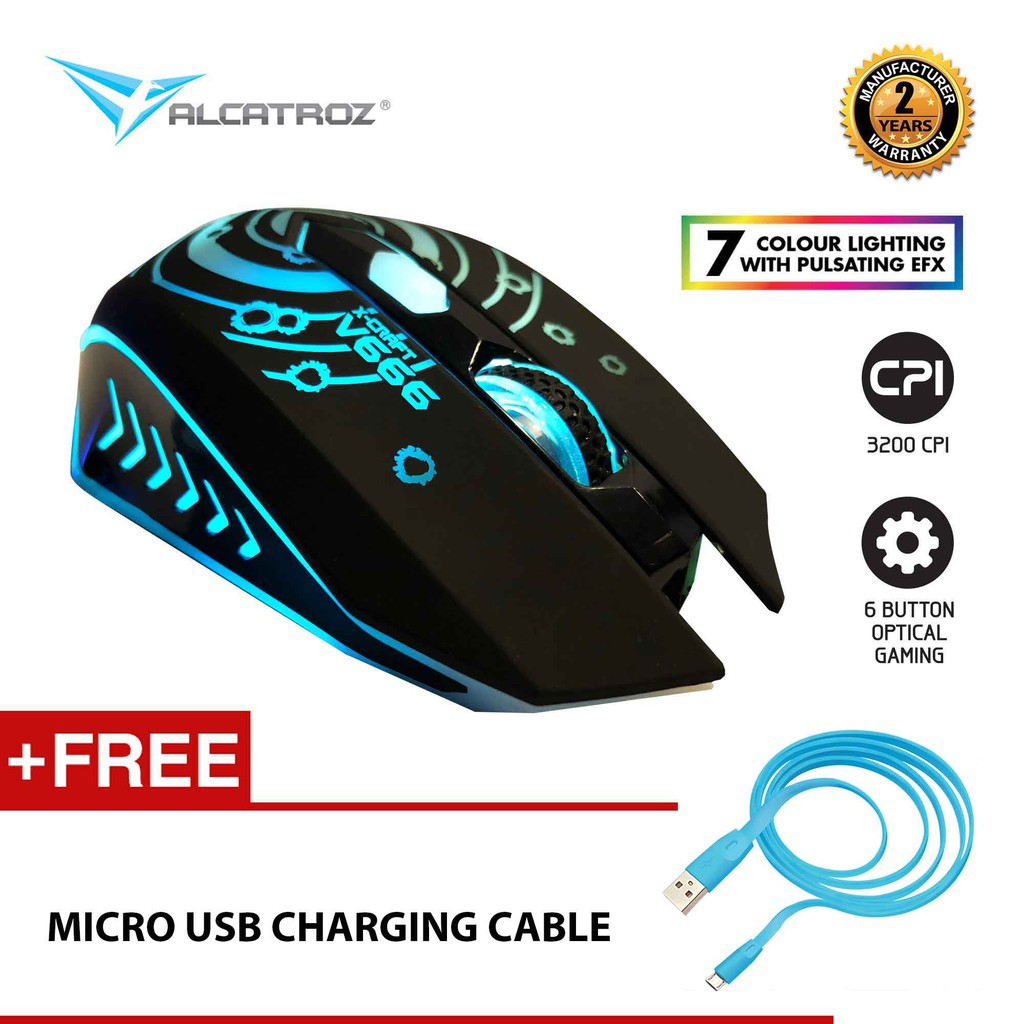 Alcatroz X-Craft V666 7 LED Effect Gaming Mouse (3200CPI) [Free Charging  Cable]