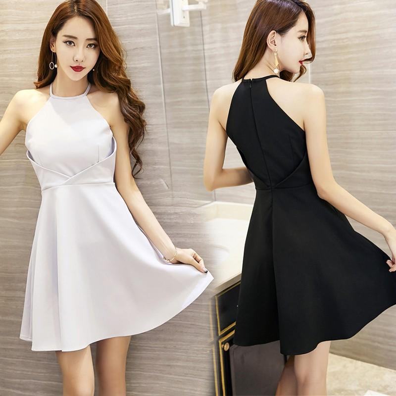 fd89c111022b1 🔥Ready Stock🔥 High Waist Sling Halter Sleeveless Women Mini Dinner  Dresses Wom