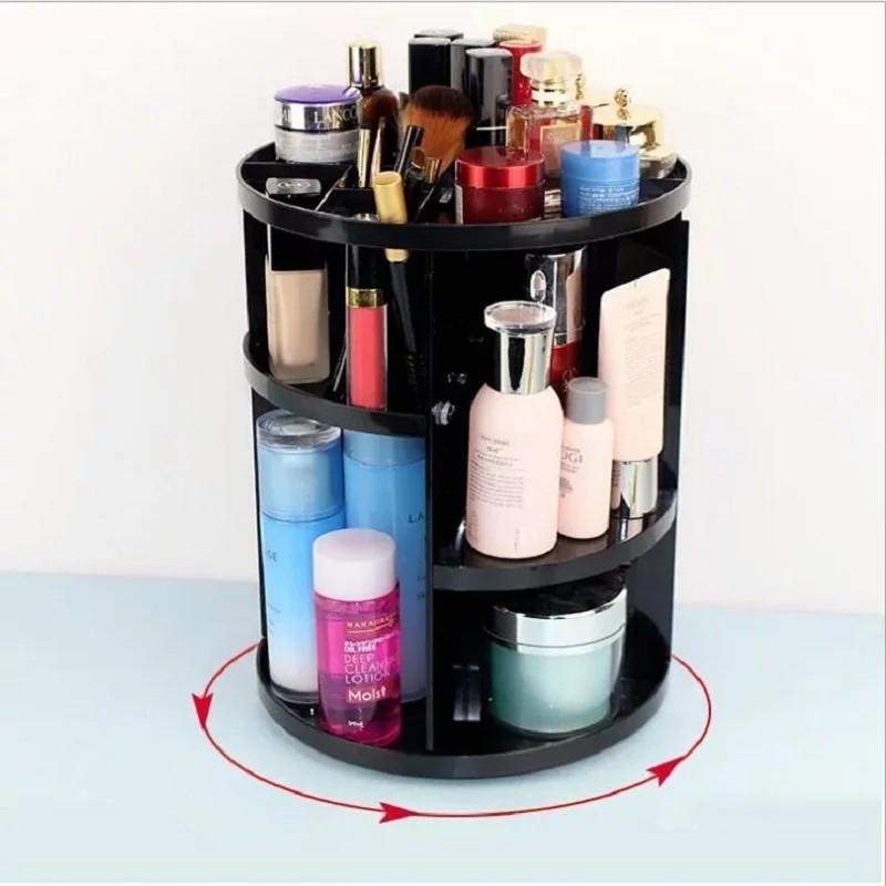 [ READYSTOCK ]  14' 360 Rotating Acrylic Makeup Organizer Detachable Spinning Storage Box Jualan Murah Girl Simpanan Rack