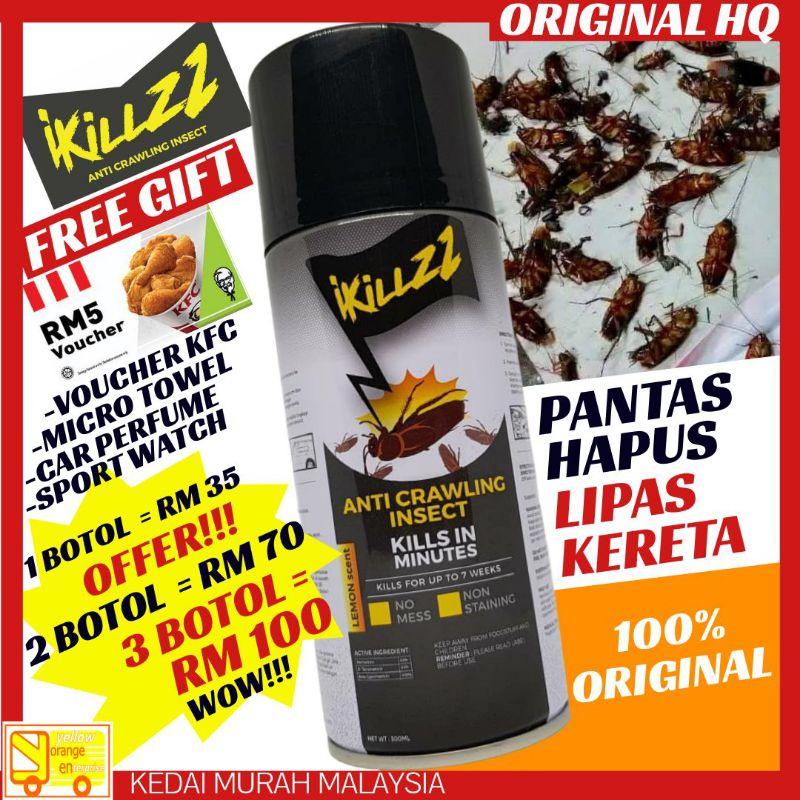 [ Promosi ] Original HQ IKILLZZ Anti Crawling Insect (300ML) Pembunuh Pembasmi Penghapus Lipas Kereta Kill IT DR Fresh