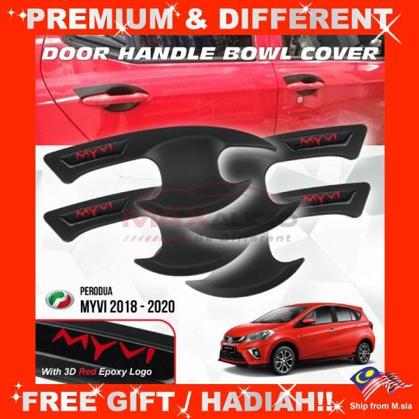 [FREE Gift] PERODUA MYVI 2018 - 2020 Matt Black Door Handle Inner Bowl Protector Cover Trim (4pcs/Set)
