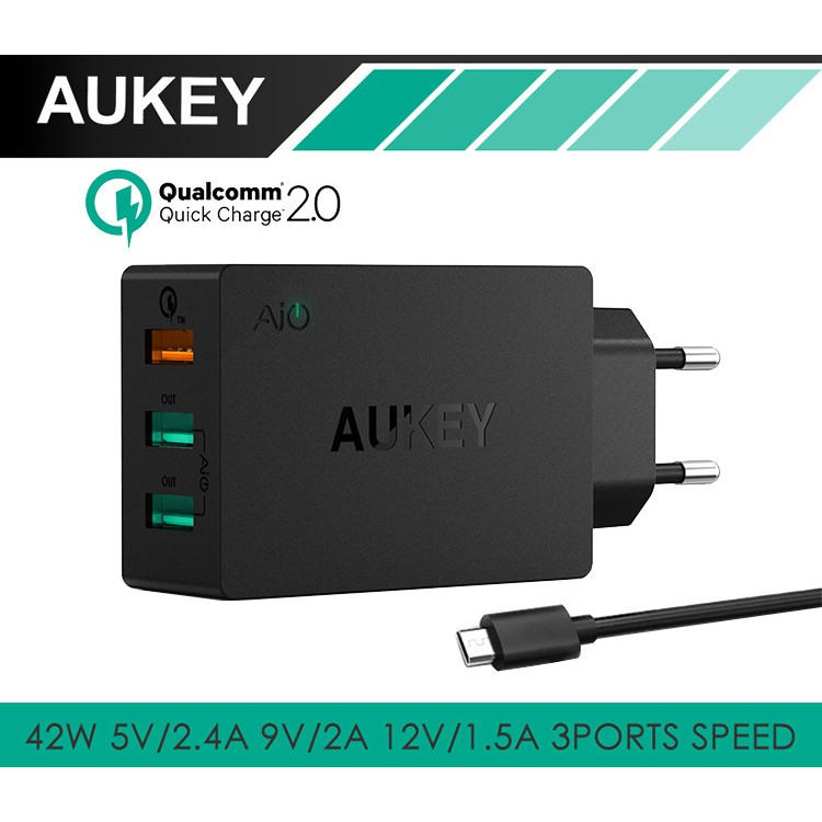AUKEY 3 Ports USB Charging Qualcomm Quick Charge 2.0(PA-T2)
