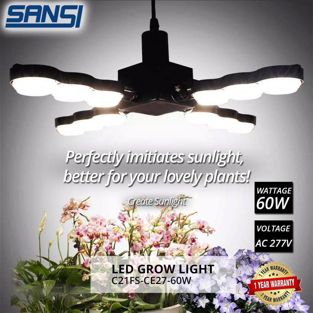 SANSI 60W LED Grow Light Bulb Daylight Full Spectrum E27 And Sunlight White Grow Light Lamp For Indoor Garden Houseplant